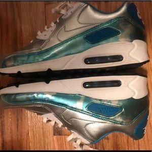 Metallic Blue and Silver Nike Air Max